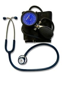 Blood pressure kit with navy blue stethoscope