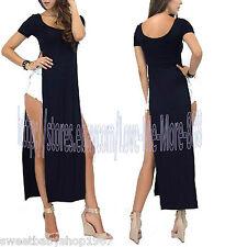 HOT Womens Casual Party Club Beach High Side Split Slits Long Tee Maxi Dress 2XL