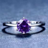 1.6ct Round Cut Purple Amethyst Engagement Ring 14k White Gold Finish Solitaire