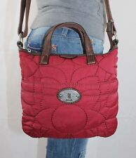 FOSSIL Red Canvas Brown Leather Shoulder Hobo Tote Satchel Slouch Purse Bag