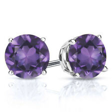 2.60 Ct Round Purple Amethyst 925 Sterling Silver Stud Earrings 7mm