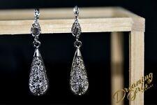 Fancy 18k White Gold Plated Swirl Carved Teardrop Dangle Earrings