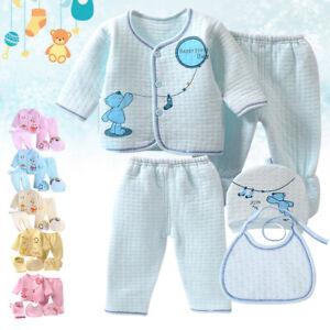 Cute Animals Design 5pcs Unisex Infant Outfit Newborn Baby Boy Girl Clothes Sets