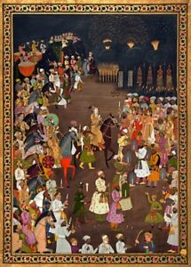 Mughal Emperor Shah Jahan attending the marriage procession. Islamic Art Poster
