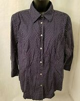 GH Bass & Co Womens Blue White Polka Dot Button Down Shirt Top Blouse Size L