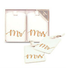 LUGGAGE TAGS Mr & Mrs white and gold wedding bride and groom honeymoon gifts NEW