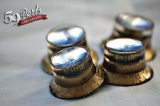SET OF 4 AGED RELIC GIBSON REFLECTOR KNOBS GOLD/SILVER US SIZE 59 PARTS LES PAUL