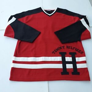 Tommy Hilfiger Mens Red/Black Spell Out Hockey Jersey Pullover Shirt Large #1