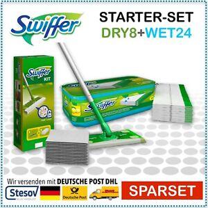 Swiffer Starter Set Bodenwischer + 8 Tücher + 24 feuchte Bodentücher WET Zitrone