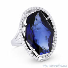 12.71ct Checkerboard Lab-Made Sapphire & Diamond Cocktail Ring in 14k White Gold