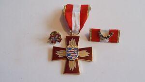 Orden Feuerwehr Hessen Verdienstkreuz golden mit Pin und Bandspange (p785)