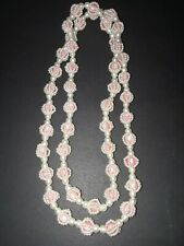 Beaded Pull Over Necklace-Costume Jewelry Vintage Faux White Pearls Over Pink
