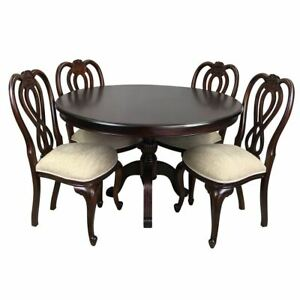 Solid Mahogany Wood Round Dining Table 125cm with 4 Chairs Circle Reproduction