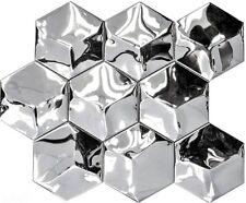 Mosaik Hexagonal 3D Stahl glänzend Fliesenspiegel Küche Art:129-HXM10SG 10Matten