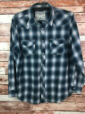 Canyon River Blues Men's Green Plaid Pearl Snap Long Sleeve Shirt Size XL - EUC
