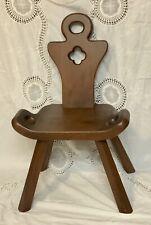 Primitive Antique Handmade Wood Milking Stool Birthing Chair