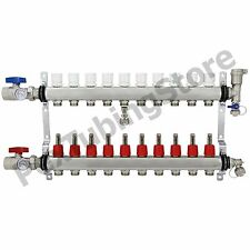 "10-Branch PEX Radiant Floor Heating Manifold Set - Stainless Steel, for 1/2"" PEX"