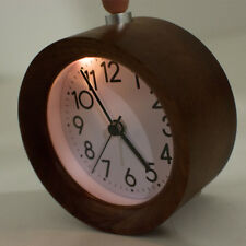 Delicate Classic Small Round Silent Light Wooden  Alarm Clock Night Light Gift
