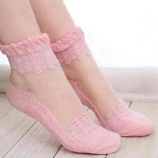 Lady Ultrathin Crystal Ruffle Ankle Socks Flower Sheer Mesh Fish Net Lace Socks