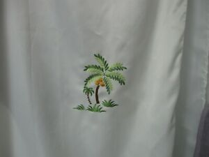 Tropical Hawaii Palm TREE Embroidered Fabric Shower Curtain