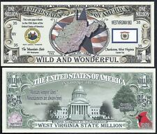 Lot of 500 Bills - West Virginia State Million Dollar w Map, Seal, Flag, Capitol