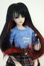 "1/6 bjd or 1/4 bjd 6-7"" doll wig black mixed red long hair dollfie"