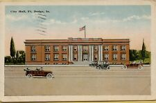 1924 Exterior Front View City Hall Old Cars Fort Ft Dodge Iowa IA Postcard C18