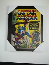 """Marvel Comics Canvas Wall Art Picture Sign 8.5"""" h Captain America Nick Fury #23"""
