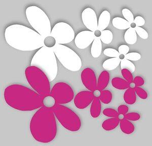 8 bunte Blumen fürs Auto Blüten Autoaufkleber Stücker Pkw Sticker Aufkleber pi/w