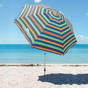 TOMMY Bahama 8' Beach Umbrella w/ Tilt Multi-Color   FAST FREE SHIPPING!