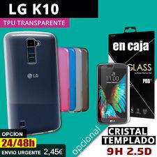FUNDA TPU Gel TRANSPARENTE para LG K10 + Protector CRISTAL TEMPLADO opcion glass