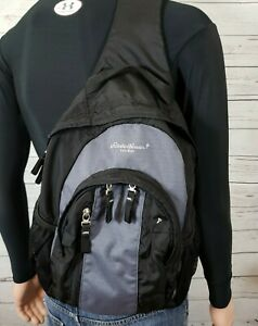 Eddie Bauer Backpack Sling Pack Hiking Black Gray Ripstop Multiple Pockets