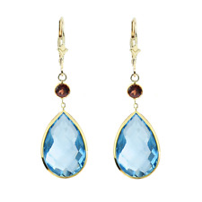 14K Yellow Gold Gemstone Earrings with Pear Shape Blue Topaz And Round Garnet
