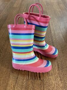 Carter's Toddler Girls Viona-R Colorful Striped Pull On Rain Boots Size 11
