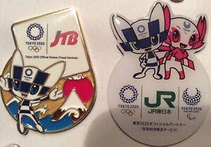 2 pcs JTB & JR Tokyo 2020 Olympic pins