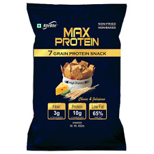 RiteBite Max Protein Snacks (PROTEIN CHIPS) 45 Gm (Pack of 10) Cheese & Jalapeno