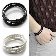 Sale Handmade Men's Leather Interlaced Braid Cuff Bangle Wristband Wrap Bracelet