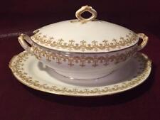 BEAUTIFUL WRIGHT TYNDALE & VAN RODEN LIMOGES GREAVY BOAT WITH UNDERPLATE FRANCE