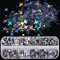 2020 3D Laser Star Heart Sequins Nail Art Flakes Glitter Foil DIY Decoration UK