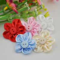 10 pcs satin ribbon flowers bows w/button sewing wedding craft appliques B04