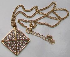 Brillantes diamantes Tono Oro Cadena Collar Colgante