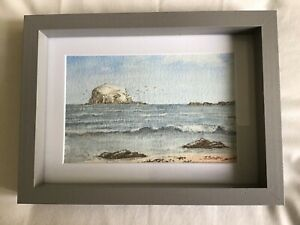 Small original water-colour painting, Bass Rock North Berwick, framed