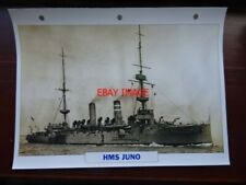 PHOTO  HMS JUNO CRUISER  1895 9 .5 X 6 INCH WITH DETAILS ON BACK