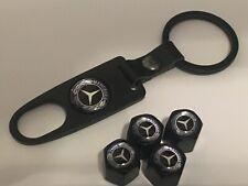 4 X Negro Neumático Válvula Polvo Tapas Para Mercedes Benz Con Llavero Cadena AMG MB una E