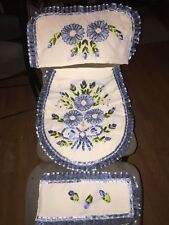 VINTAGE HAND MADE TOILET SEAT, TANK TOP COVER & TP COVER ~UNUSED
