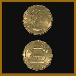 Fiji 3 Pence Coin, 1967 Km# 22 Palm Tree Hut Queen Elizabeth II (XF-AU)