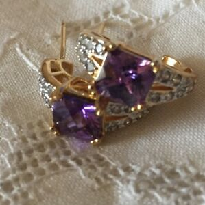 Earrings Silver Sterling 925 Amethyst Quartz  CZ Gold Vermeil Half Hoop