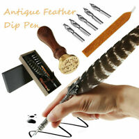 Calligraphy Feather Dip Quill Pen Writing Set Stationery Gift Box w/ 5 Nibs Seal