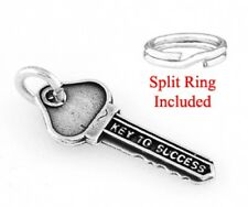 """STERLING SILVER """"KEY TO SUCCESS"""" CHARM  W/ SPLIT RING"""
