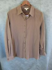 Appleseed's Women's Shirt Size Medium Light Brown Crinkled 100% Cotton NWOT